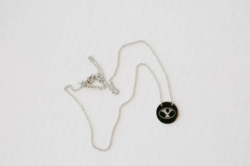 BYU Stretch Y Silver Chain and Circle Pendant