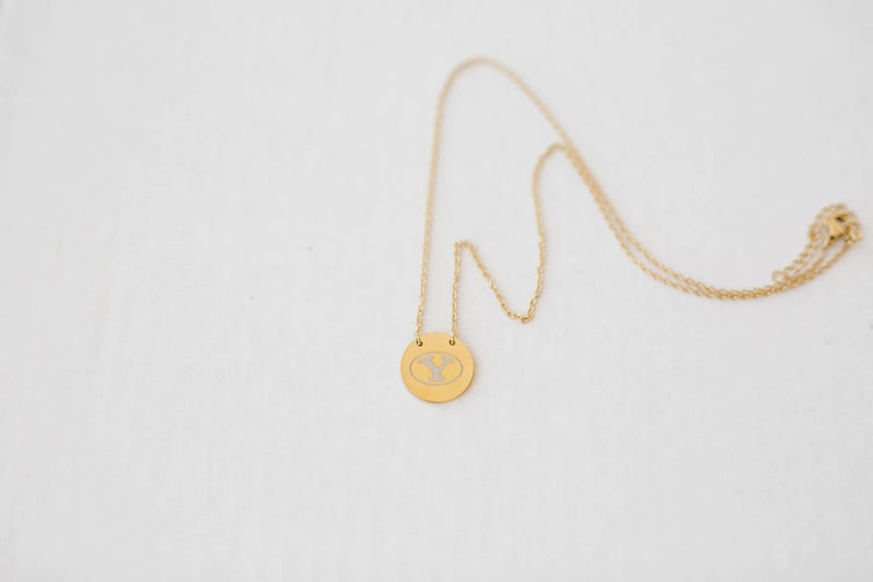 BYU Stretch Y Gold-plated Chain and Circle Pendant