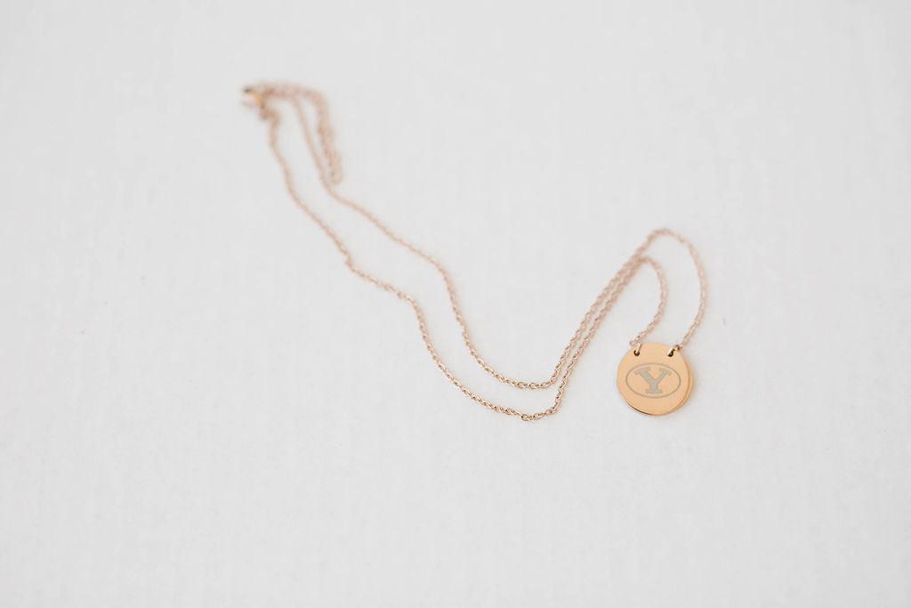 BYU Stretch Y Rose Gold-plated Chain and Circle Pendant
