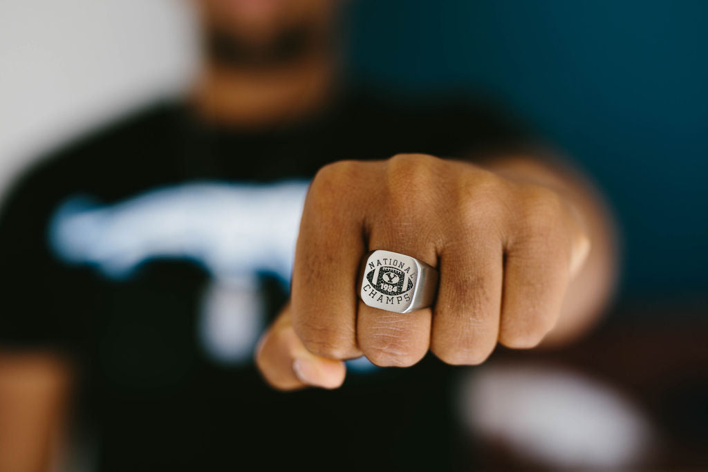 Custom BYU National Champs Engraved Surgical Steel Ring