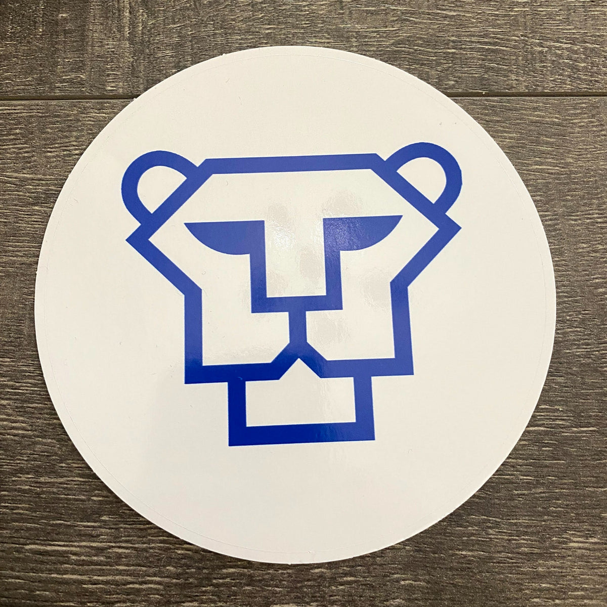 Vector Cougar 5-inch White and Royal Vinyl Sticker