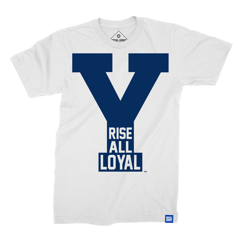 Rise All Loyal White with Navy BYU T-Shirt
