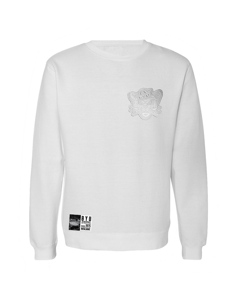 White Crew Sweatshirt with Whiteout Sailor Cougar Patch