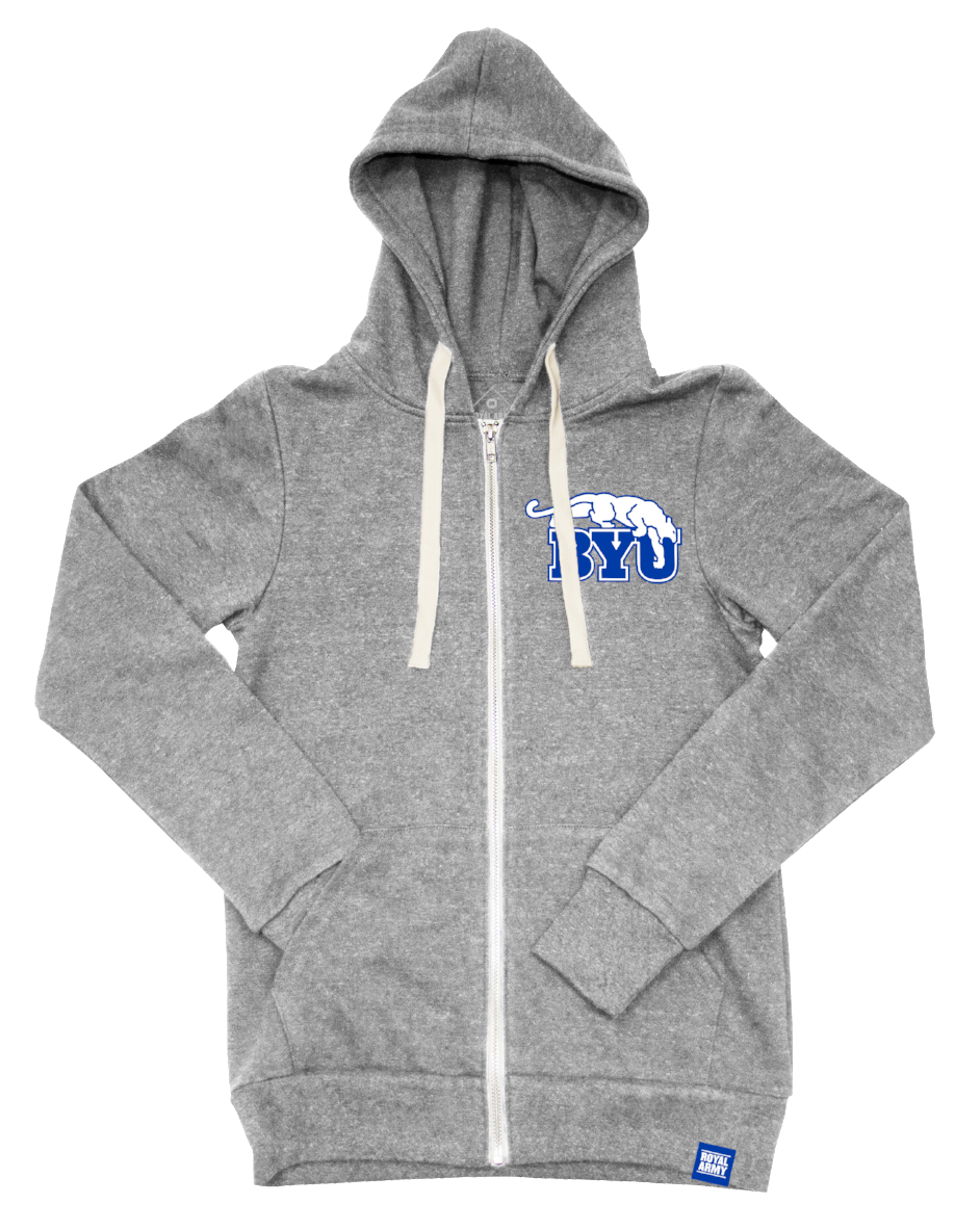 Full-Zip Tri-Blend Fleece Hoodie Heather Gray with BYU Beet Digger Tackle Twill Patch
