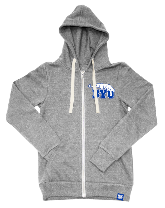 Heather Grey Tri-blend Fleece Full Zip Hoodie with BYU Beet Digger Tackle Twill Patch