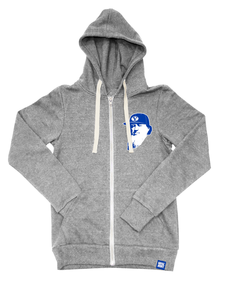 Full-Zip Tri-Blend Fleece Hoodie Heather Gray with Flat Brim Brigham Tackle Twill Patch