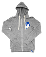 Heather Grey Tri-blend Fleece Full Zip Hoodie with Flat Brim Brigham Tackle Twill Patch