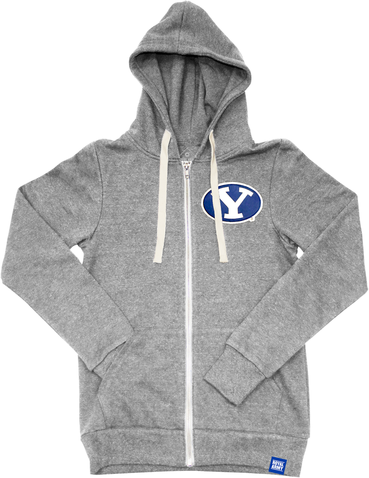 Full-Zip Tri-Blend Fleece Hoodie Heather Gray with Stretch Y Tackle Twill Patch