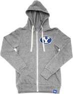 Heather Grey Tri-blend Fleece Full Zip Hoodie with Stretch Y Tackle Twill Patch