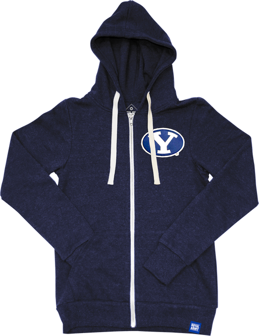 Heather Navy Tri-blend Fleece Full Zip Hoodie with Stretch Y Tackle Twill Patch