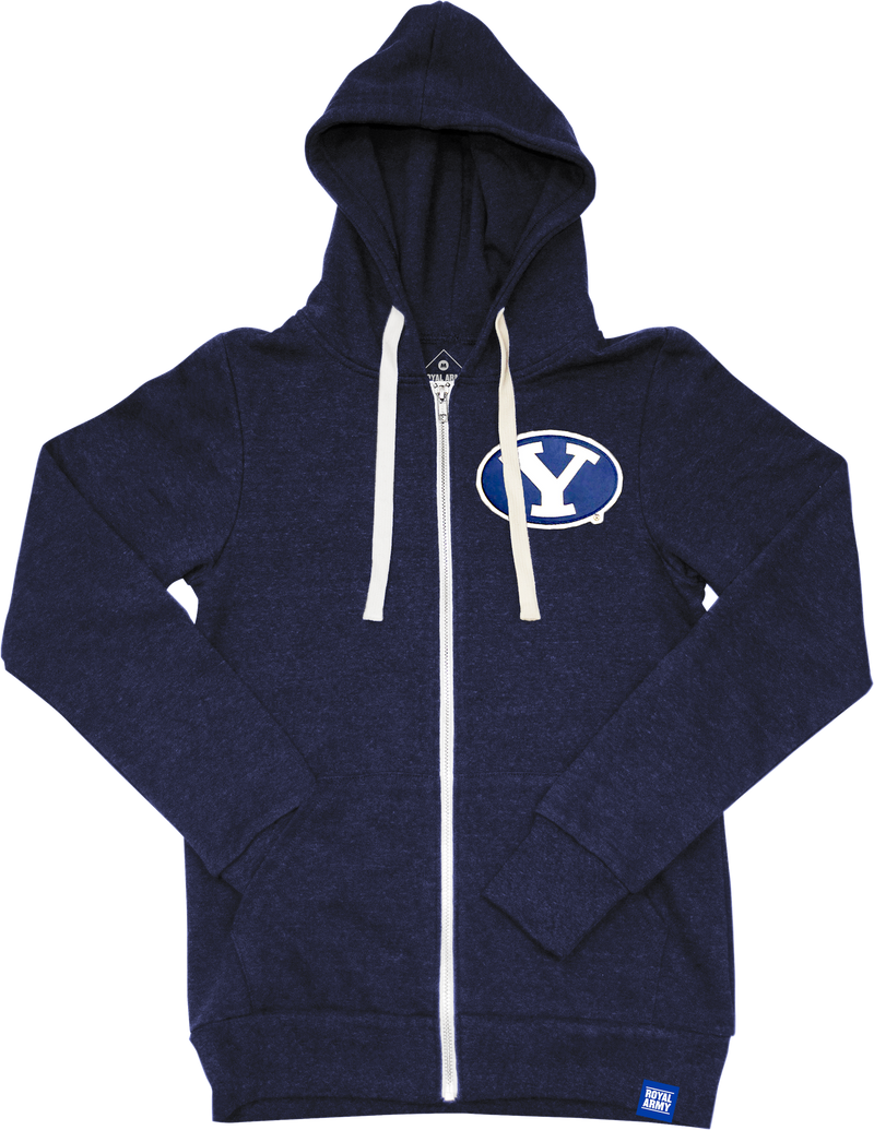 Full-Zip Tri-Blend Fleece Hoodie Heather Navy with Stretch Y Tackle Twill Patch