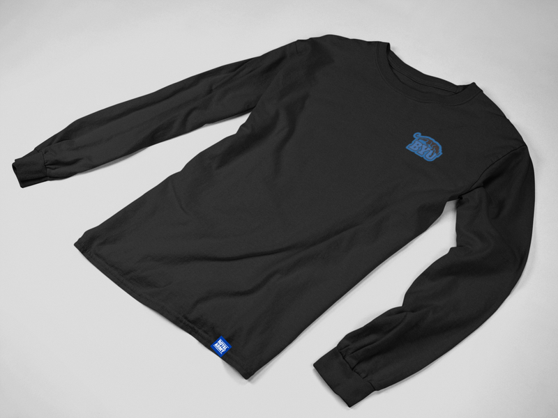 Black Long-Sleeve Tee with Custom Mini BYU Beet Digger Patch
