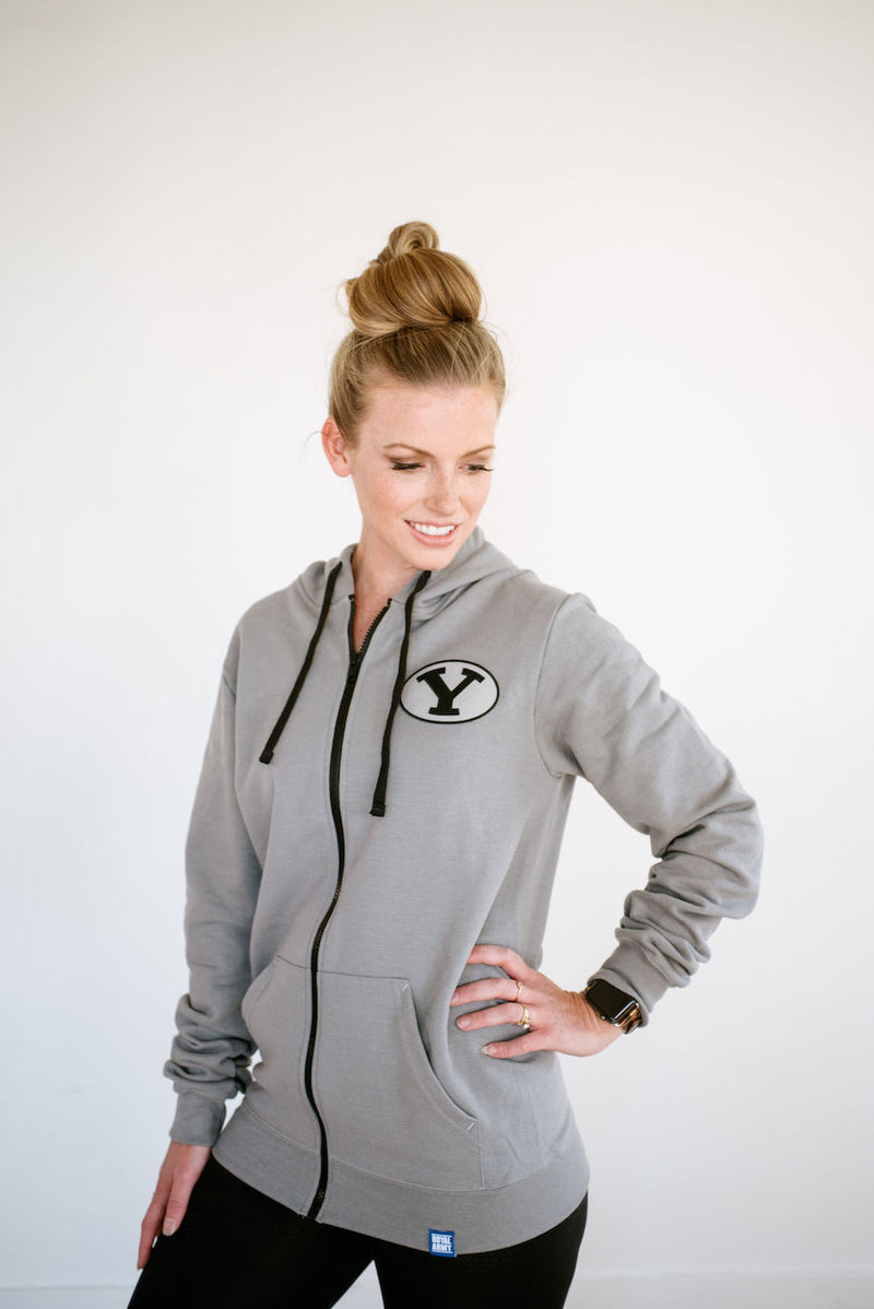 Gray and Black Full-zip Hoodie with Custom BYU Stretch Y Patch