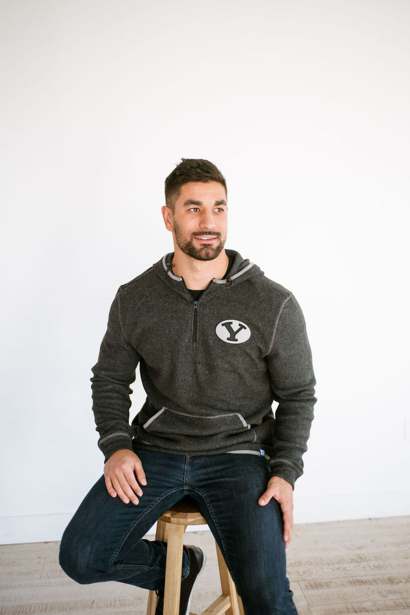 Black Quarter Zip Fleece Hoodie with Custom BYU Stretch Y Patch