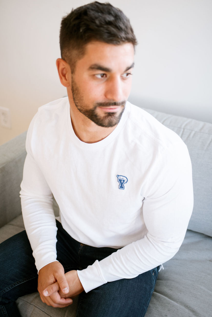 White Long-Sleeve Tee with Mini BYU Block Y Patch