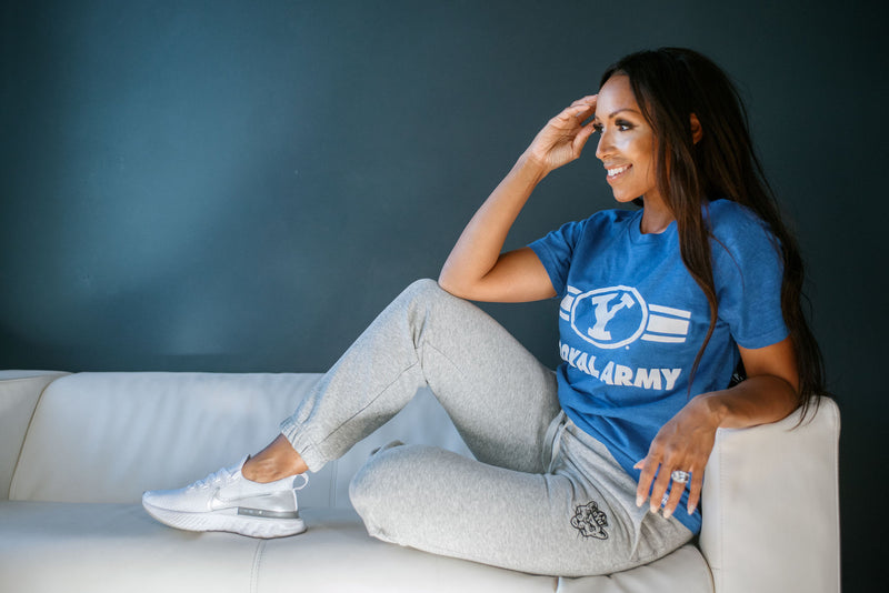 Light Grey Sweatpants with Embroidered BYU Sailor Cougar