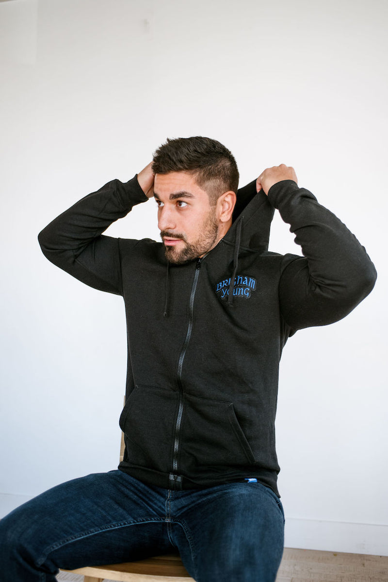 Black on Black Full-zip Hoodie with Vintage Brigham Young Patch