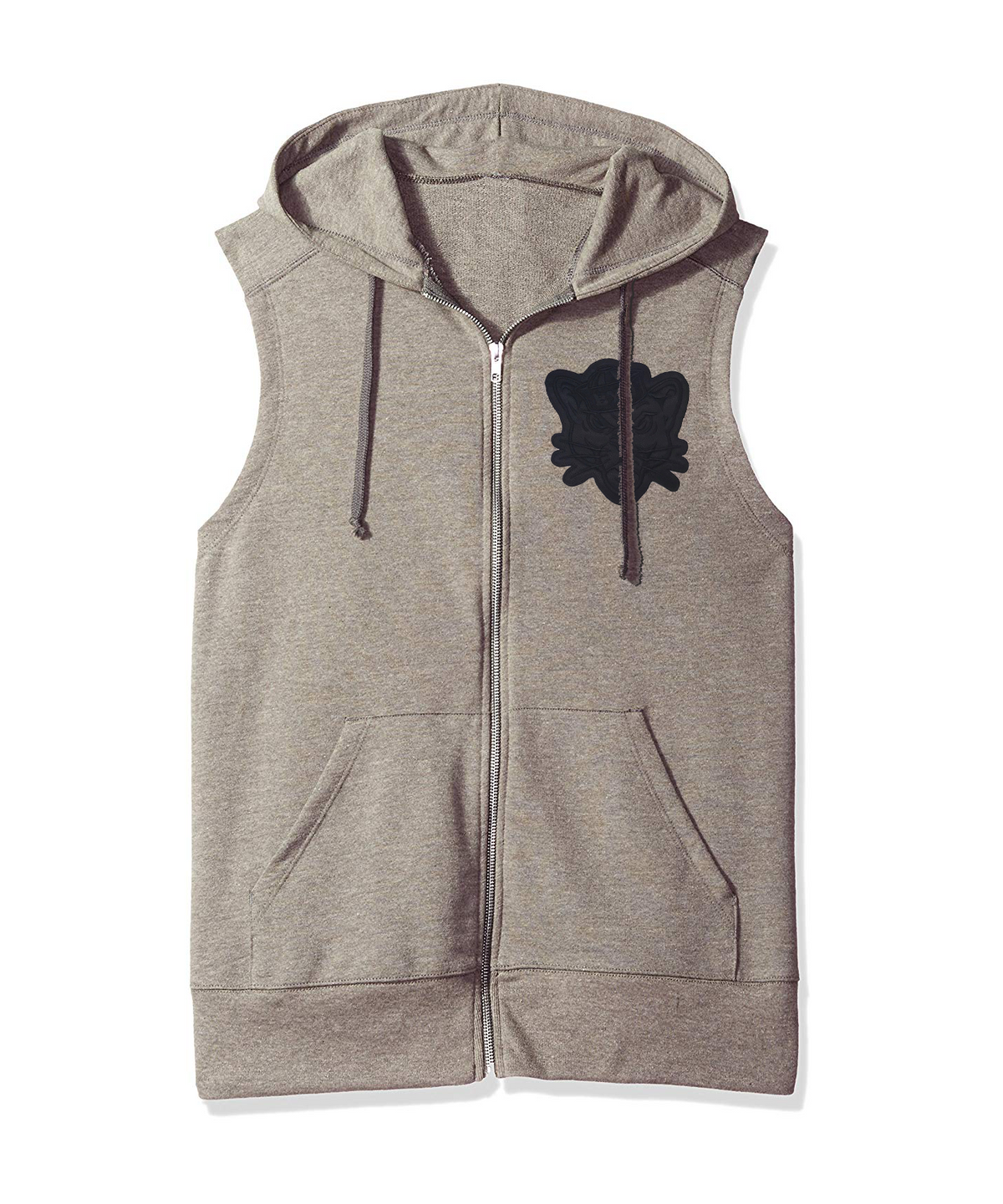 Gray Sleeveless Full-Zip Hoodie with Blackout Sailor Cougar Patch