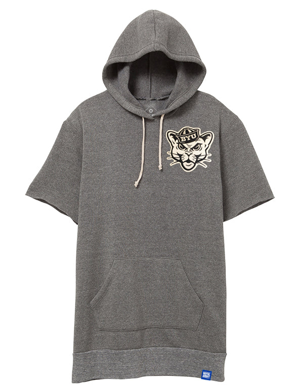 Baller Hoodie Short-Sleeve Gray with Custom Patch