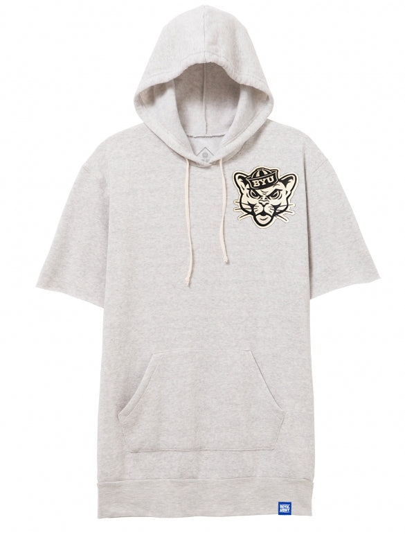 Baller Hoodie Short-Sleeve Oatmeal with Custom Patch