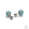 Natural Aquamarine Double Stud Earrings with Shiny Bead in Silver
