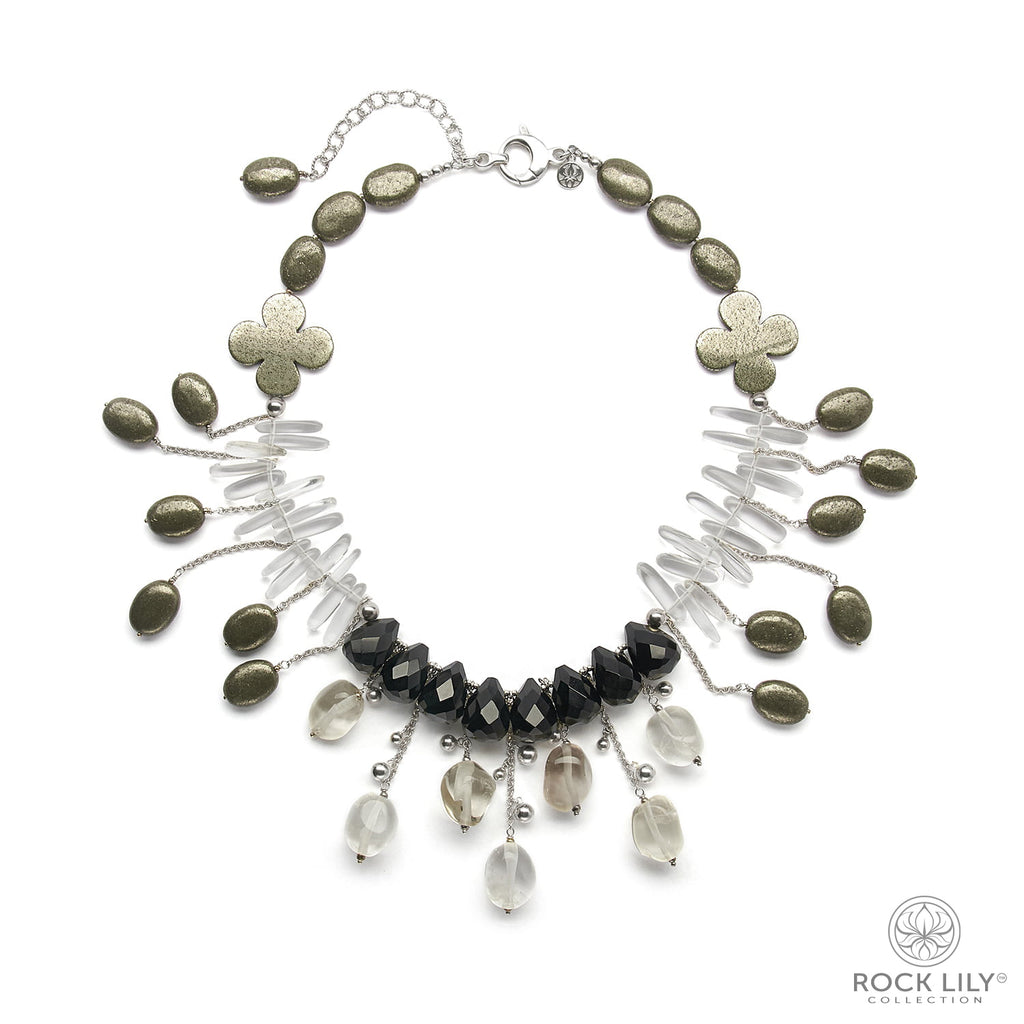 Pyrite Flowers Black Onyx Crystal Max-Stick Beaded Drop Necklace In Silver