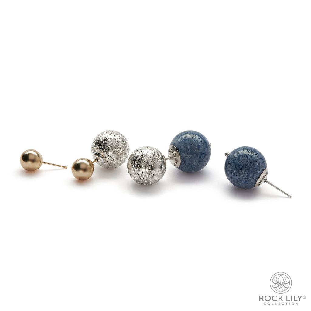 Blue Coral Double Stud in Silver With Extra Pair Of 14K Gold Bead Post Earrings