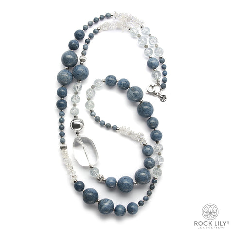 Four Layered Beaded Necklace Blue Coral Pearl Crystal Nugget In Silver
