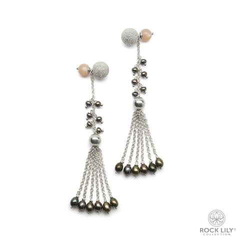 Cultured Peach Baroque Pearl Stud Earrings In Silver