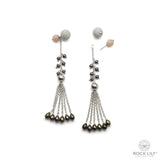 Detachable Black Pearl Drop Chain Tassel Moonstone Stud Earrings In Silver