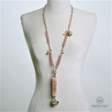 NEW! MADAGASCAR ROSE QUARTZ MORGANITE TASSELED NECKLACE 14K GOLD & SILVER