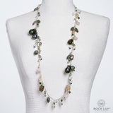 NEW! CULTURED BLACK BAROQUE PEARL MULTICOLORED OPERA DROP NECKLACE