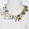 CULTURED WHITE BAROQUE PEARL MULTICOLORED OPERA DROP NECKLACE