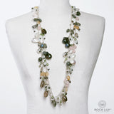 NEW! CULTURED WHITE BAROQUE PEARL MULTICOLORED OPERA DROP NECKLACE