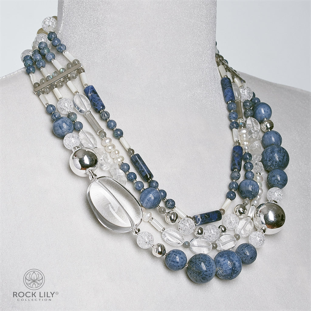 BLUE CORAL CRYSTAL LABRADORITE RUTILATED QUARTZ LAYERED NECKLACE