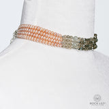 NEW! PEACH PEARL MOONSTONE LABRADORITE FOUR STRAND CHOKER IN SILVER WITH EXTENDER