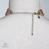 PEACH PEARL MOONSTONE LABRADORITE FOUR STRAND CHOKER IN SILVER WITH EXTENDER