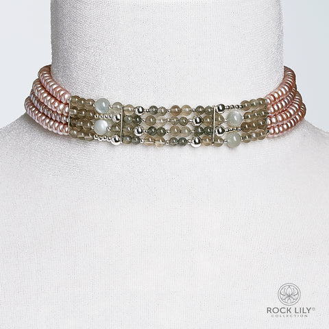 Three Strand Mother-of-Pearl Nugget Crystal Bracelet In Silver