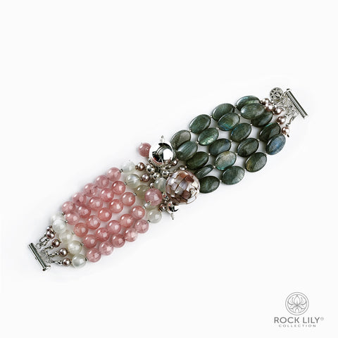 Swirl Double – Wrap Bracelet Turquoise with Mother of Pearls Clovers in Silver