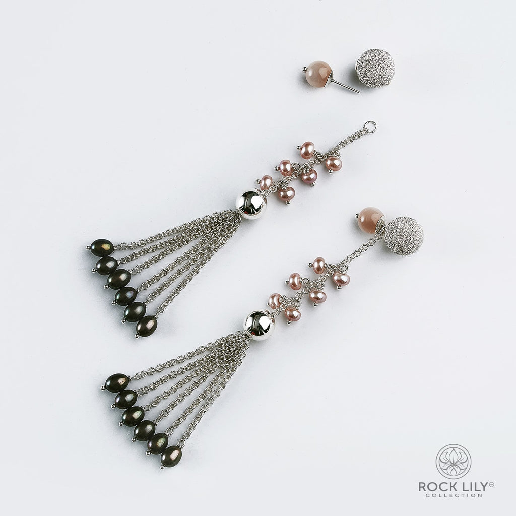 NEW! CULTURED PINK PEARL & PEACH MOONSTONE DETACHABLE TASSEL STUD DROP EARRINGS