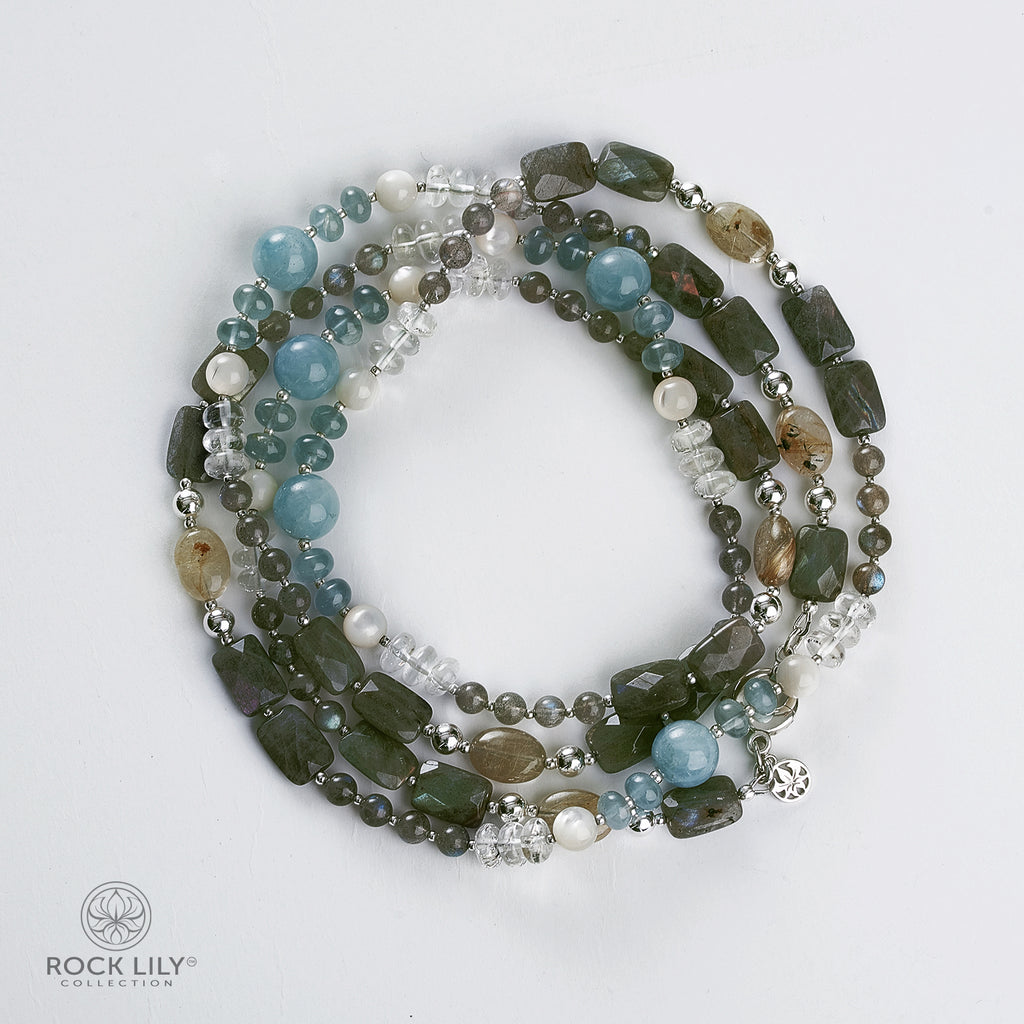 Aquamarine Labradorite Rutile Beaded Necklace & Re-Attached Charm Chain Necklace