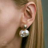 NEW! CULTURED WHITE BAROQUE PEARL 14K ROSE GOLD 2 STARS DIAMOND STUD EARRINGS