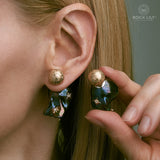 NEW! CULTURED BAROQUE BLACK PEARL 14K ROSE GOLD 3 STARS DIAMOND STUD EARRINGS