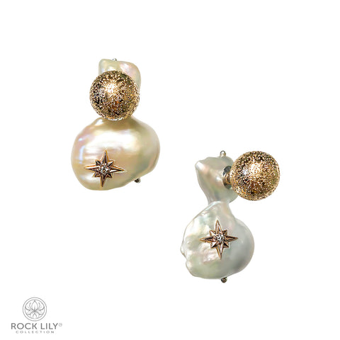 CULTURED BAROQUE PEARL 14K WHITE GOLD 2 STARS DIAMOND STUD EARRINGS