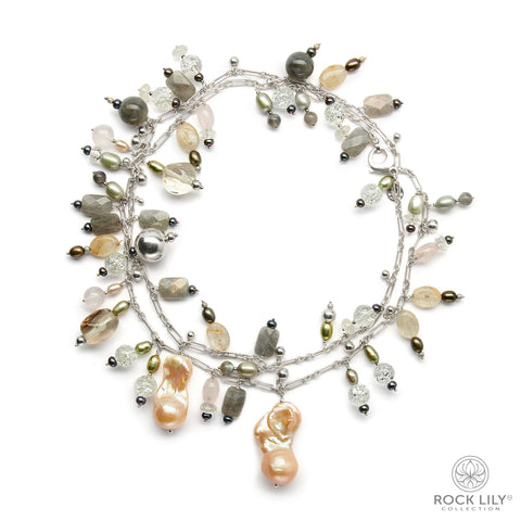 Four Strand Beaded Necklace Mother of Pearl Nugget Gemstone In Silver