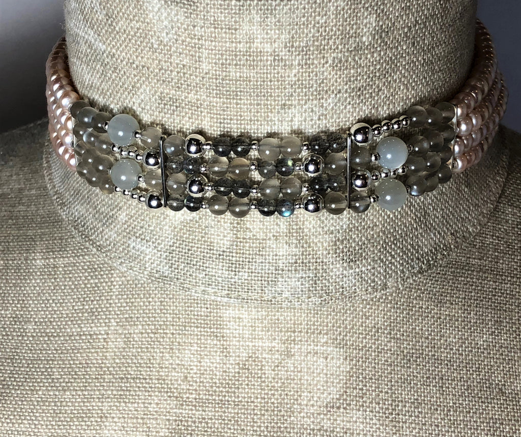 NEW! PINK PEARL MOONSTONE LABRADORITE FOUR STRAND CHOKER IN SILVER WITH EXTENDER