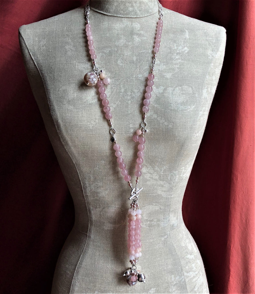 MADAGASCAR ROSE QUARTZ MORGANITE TASSELED NECKLACE 14K GOLD & SILVER