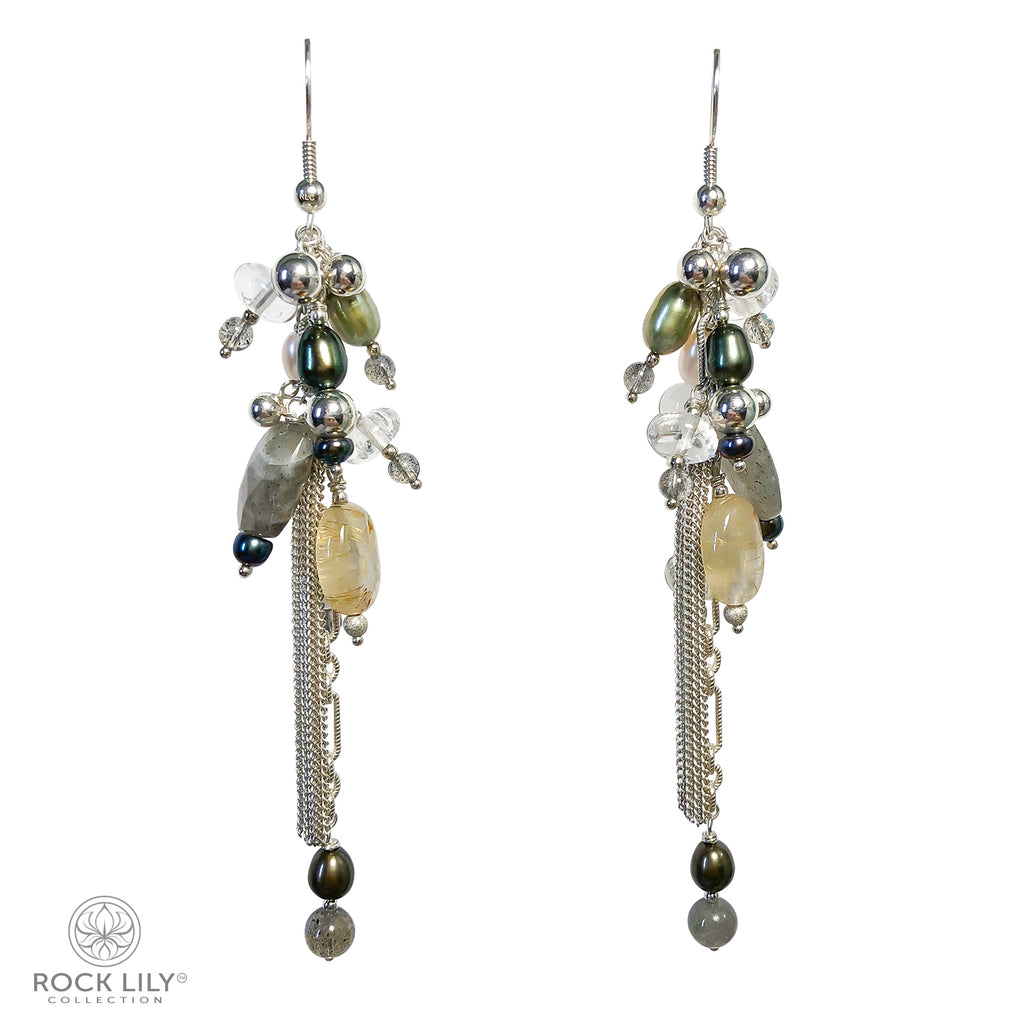 BEAD RUTILE QUARTZ LABRADORITE PEARL TASSEL DROP EARRINGS