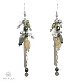NEW! BEADED RUTILE QUARTZ LABRADORITE PEARL TASSEL DROP EARRINGS