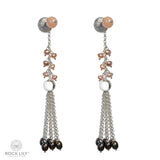 CULTURED PINK PEARL & PEACH MOONSTONE DETACHABLE TASSEL STUD DROP EARRINGS